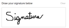 screenshot of an example signature drawn in the field